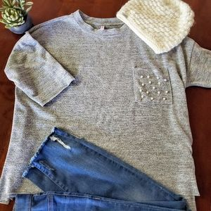 Xhilaration Oversized Grey Pearl Accent Sweater